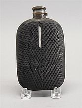 STERLING SILVER, GLASS, AND SHARKSKIN-COVERED FLASK. Height 6½