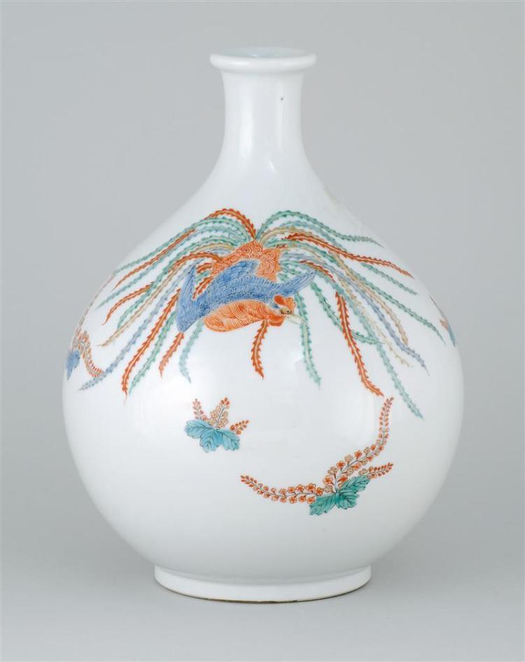 "KAKIEMON PORCELAIN BOTTLE VASE In bladder form with phoenix and paulownia design. Height 11.75"" (30 cm)."