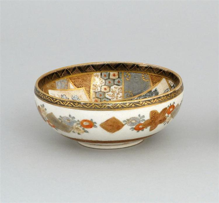 SATSUMA POTTERY BOWL Decorated with figural landscape cartouches. Exterior with floral borders. Black mark signature on base. Diamet...