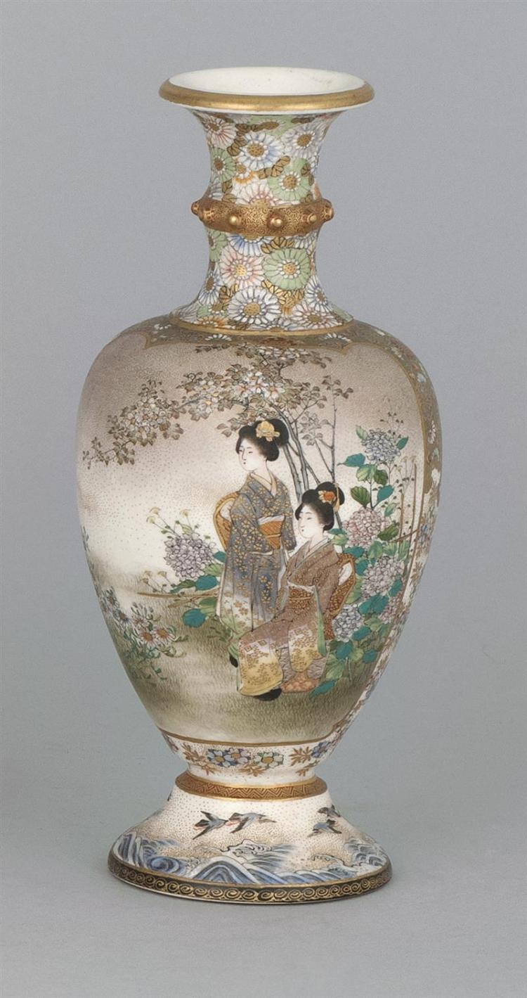 KINKOZAN SATSUMA POTTERY VASE In baluster form. Decorated with ladies in a garden on one face; birds and wisteria on the reverse. Si...