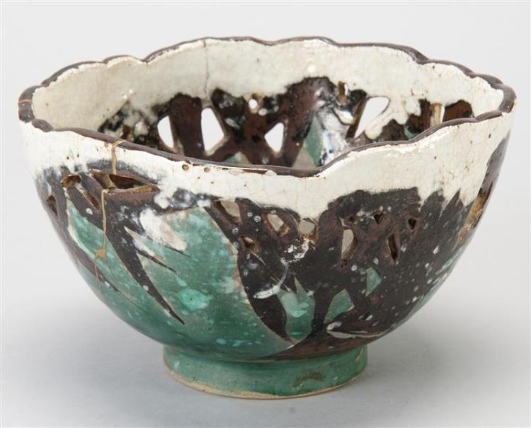 """KENZAN POTTERY BOWL With openwork bamboo design. Some gold lacquer repairs. Diameter 6"""" (15.2 cm)."""