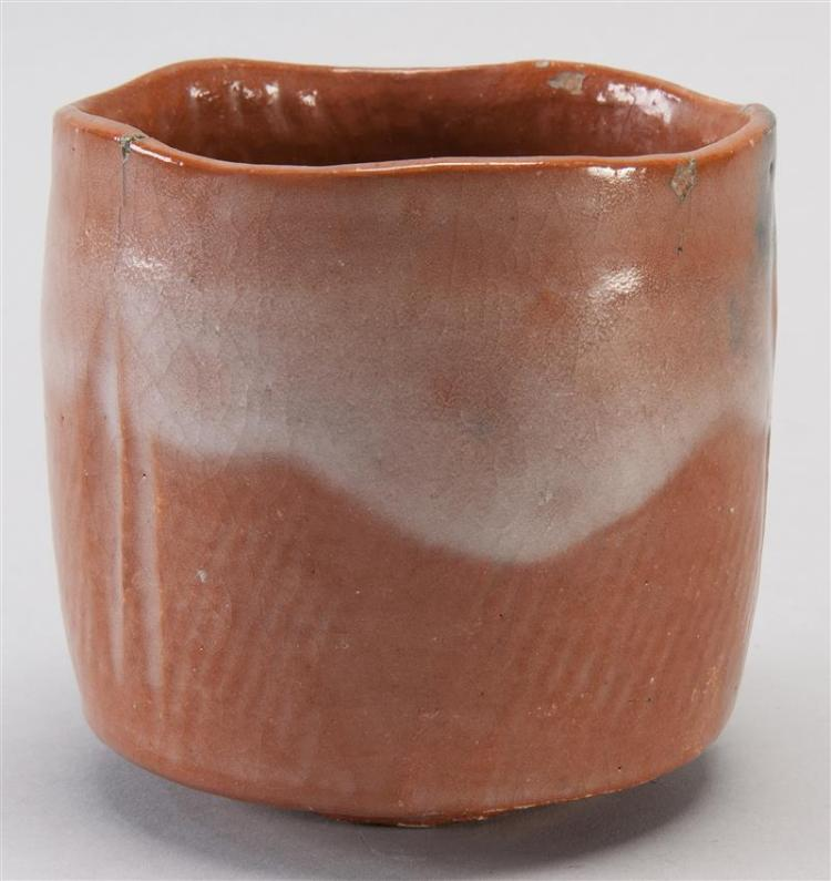 "RED RAKU POTTERY CHAWAN With potter's mark at foot. Diameter 4"" (10.2 cm)."