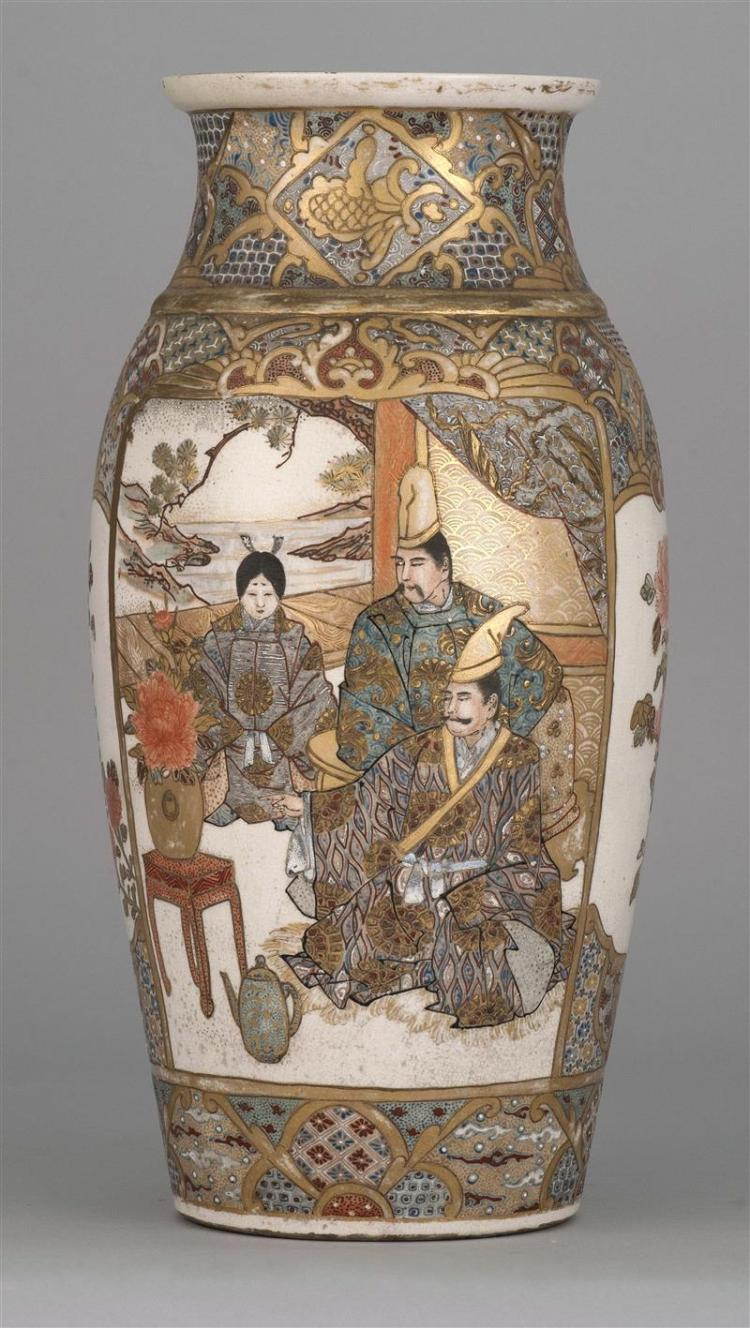 """SATSUMA POTTERY VASE In seed form with gilt figural decoration surrounded by brocade borders. Height 14.75"""" (37.5 cm)."""