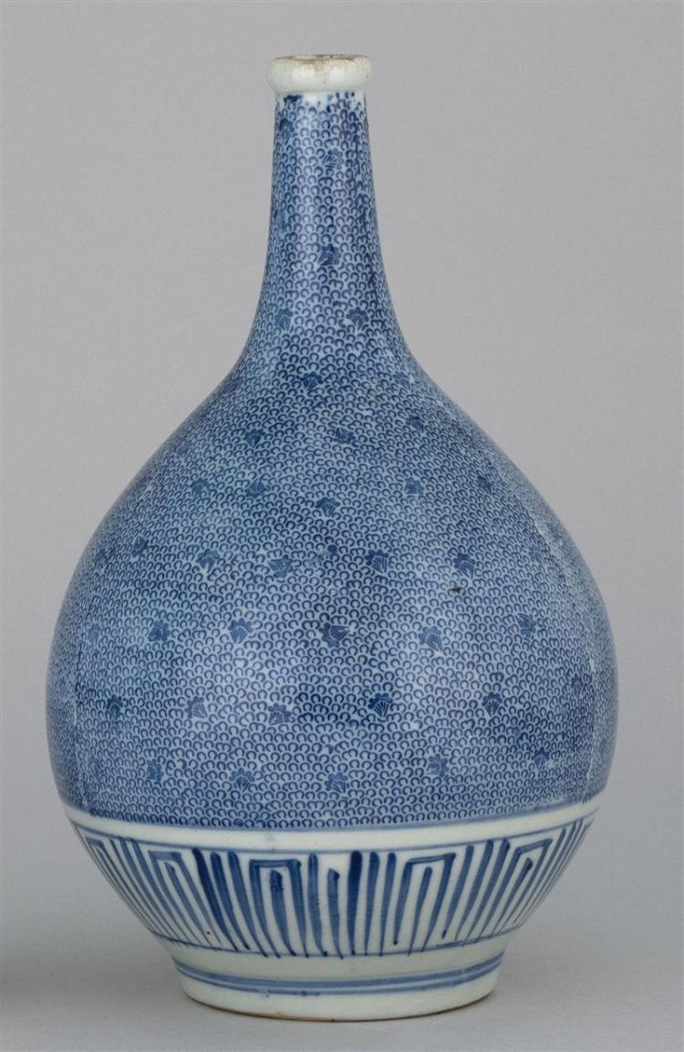 """BOTTLE VASE In gourd form with blue and white geometric design. Height 11"""" (27.9 cm)."""