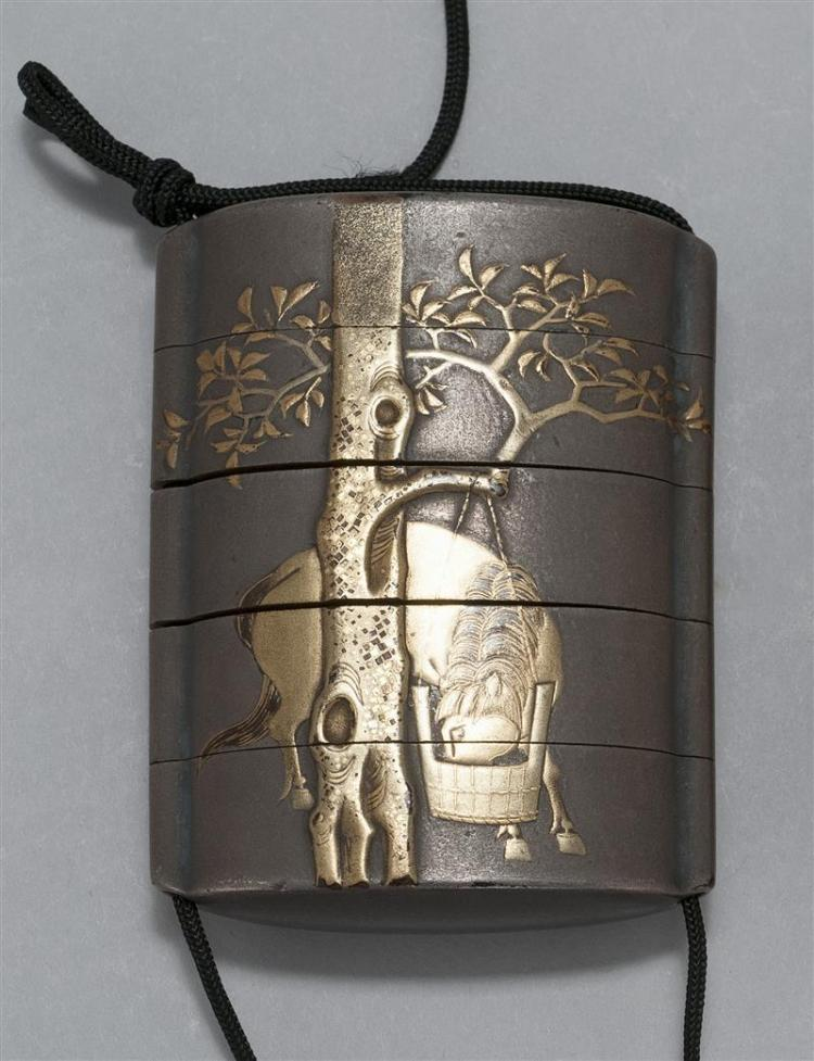 GOLD AND GUNFU LACQUER FIVE-SECTION INRO Depicting a horse feeding from a pail hanging from a tree on one side; a farmer gathering s...