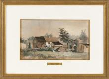 """FRANCIS AUGUSTUS SILVA (New York, 1835-1886), """"Summer in Connecticut""""., Watercolor on paper, 9.25"""" x 15.5"""" sight. Framed 18"""" x 24.75""""."""