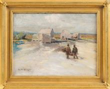 "EDWARD A. PAGE (Massachusetts, 1850-1928), Fishing shacks, North Shore of Massachusetts., Oil on canvas, 9"" x 12"". Framed 13"" x 19""."