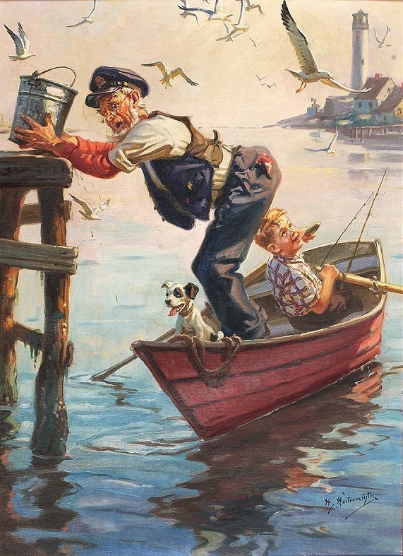 HENRY HINTERMEISTER, American, 1897-1972, Original illustration, depicting an old man, a boy and his dog in a rowboat, Oil on canvas...