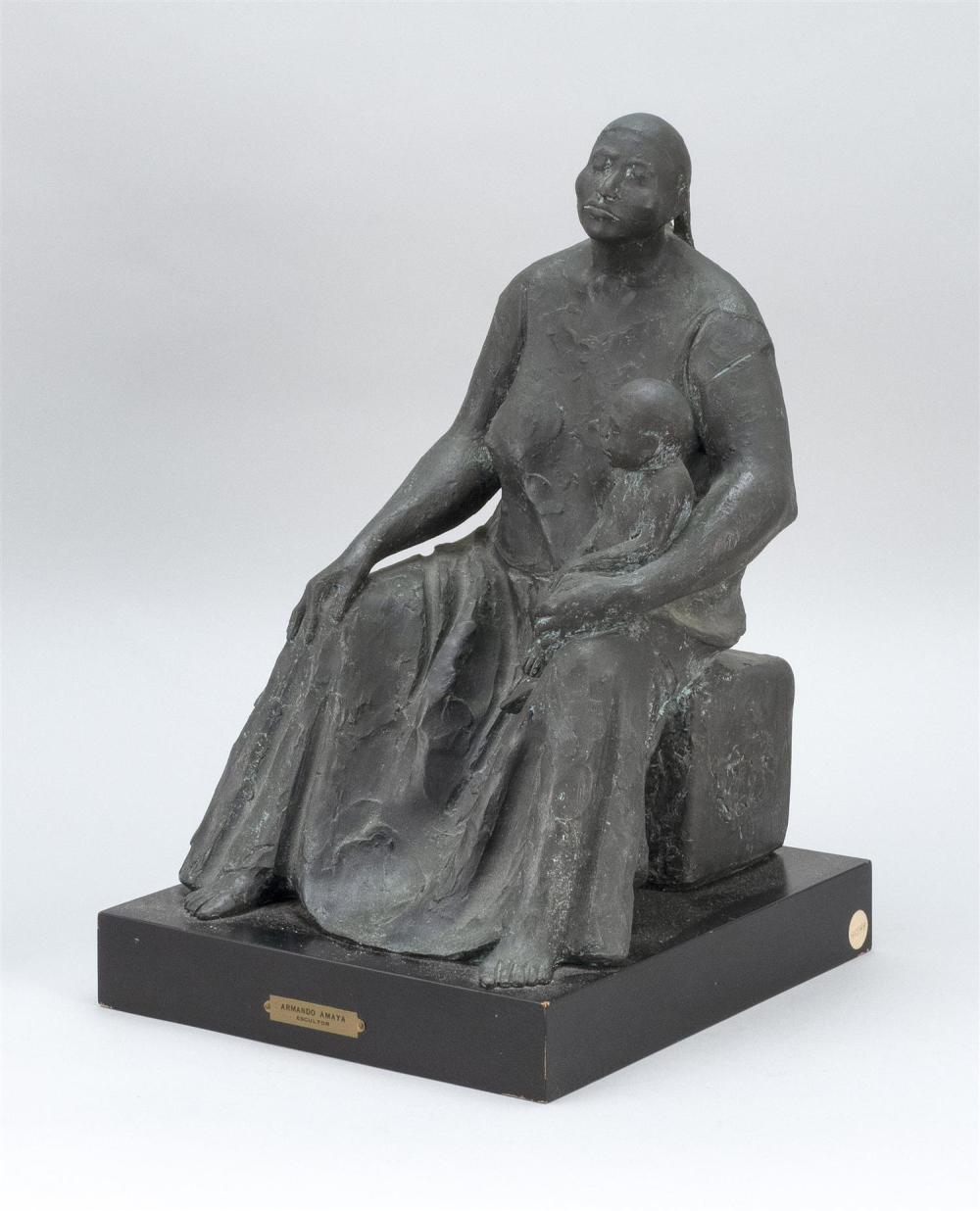 ARMANDO AMAYA, Mexico, b. 1935, A mother and child., Bronze, height 15
