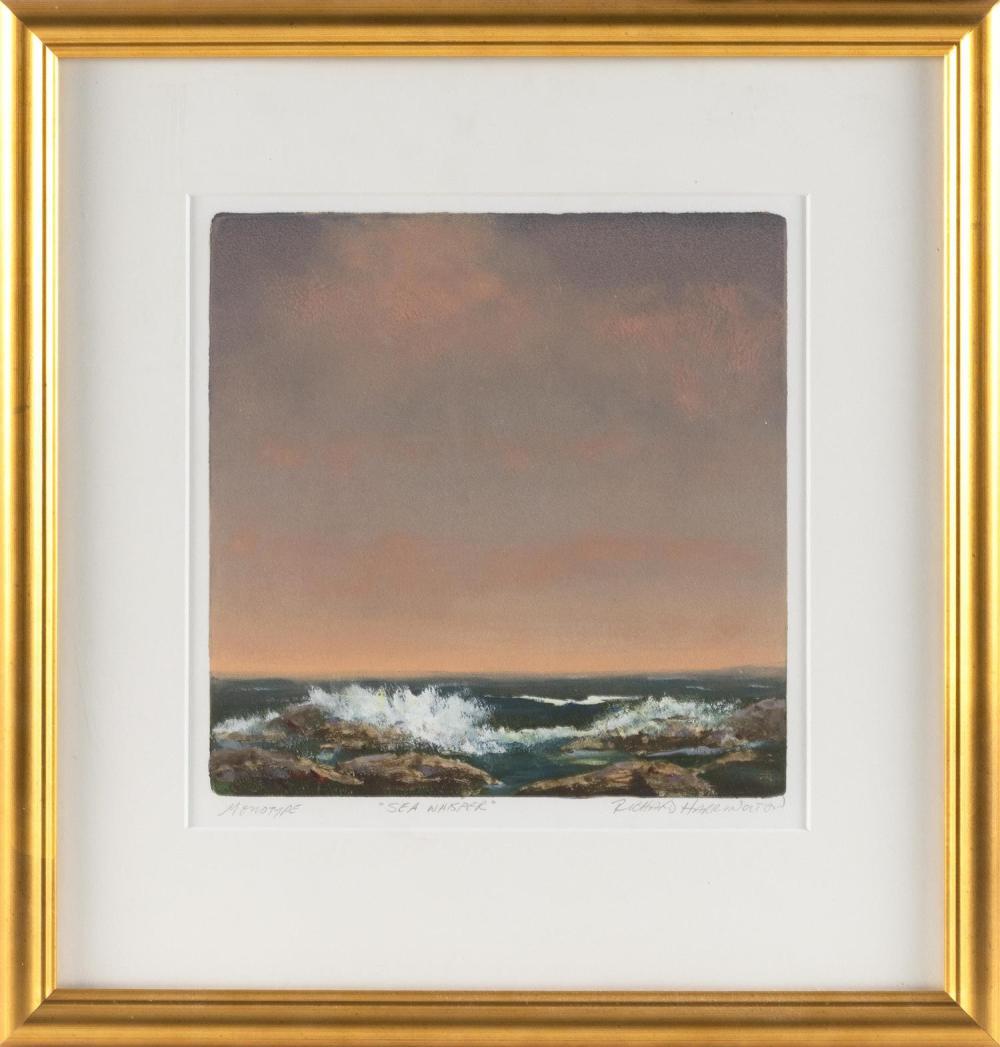"RICHARD C. HARRINGTON, United States, Contemporary, ""Sea Whisper""., Monotype, 10"" x 10"". Framed 18"" x 17""."