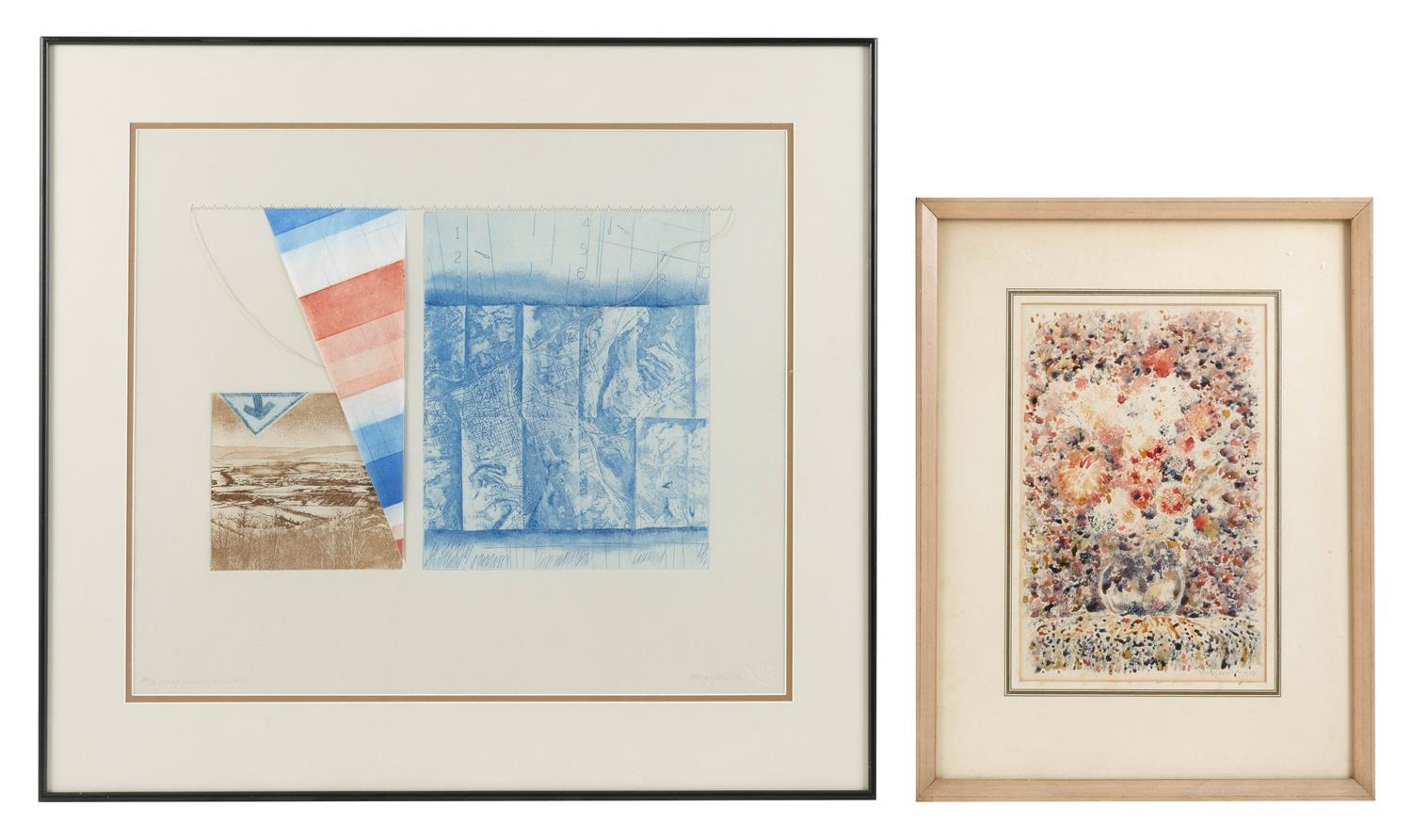"""TWO PRINTS 1) """"Hang Gliding Series #1"""" by Vivian Bergenfeld (America, 20th Century). Etching and collage, 18.5"""" x 21.5"""". Framed 25""""..."""