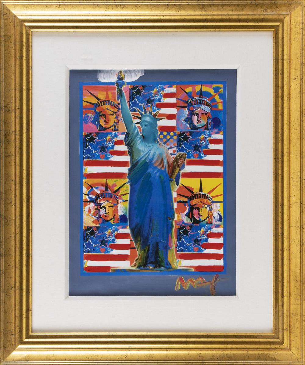 """PETER (FINKELSTEIN) MAX, New York/Germany, b. 1937, """"God Bless America - With Five Liberties""""., Mixed media, 23"""" x 17"""" sight. Framed..."""