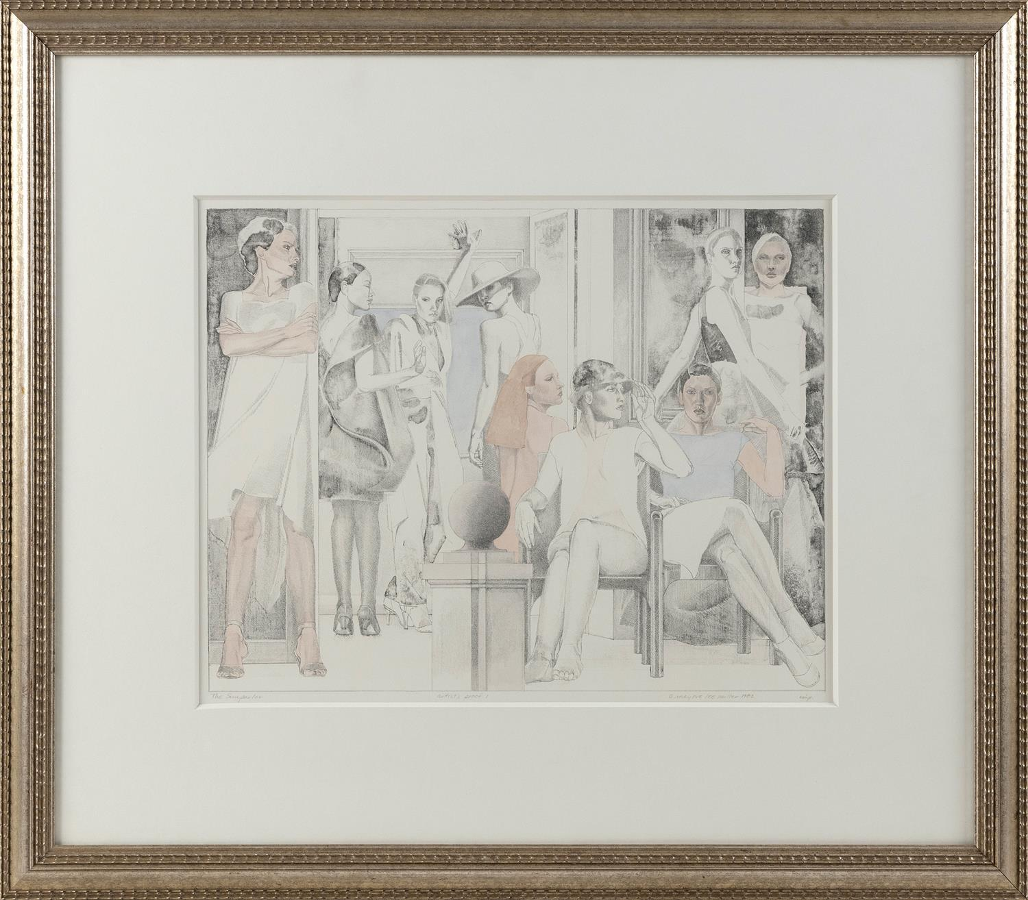 "FASHION PRINT ""THE SUN PARLOR"" Titled lower left. Signed and dated lower right. Artist's proof. 13"" x 17"". Framed 24"" x 28""."