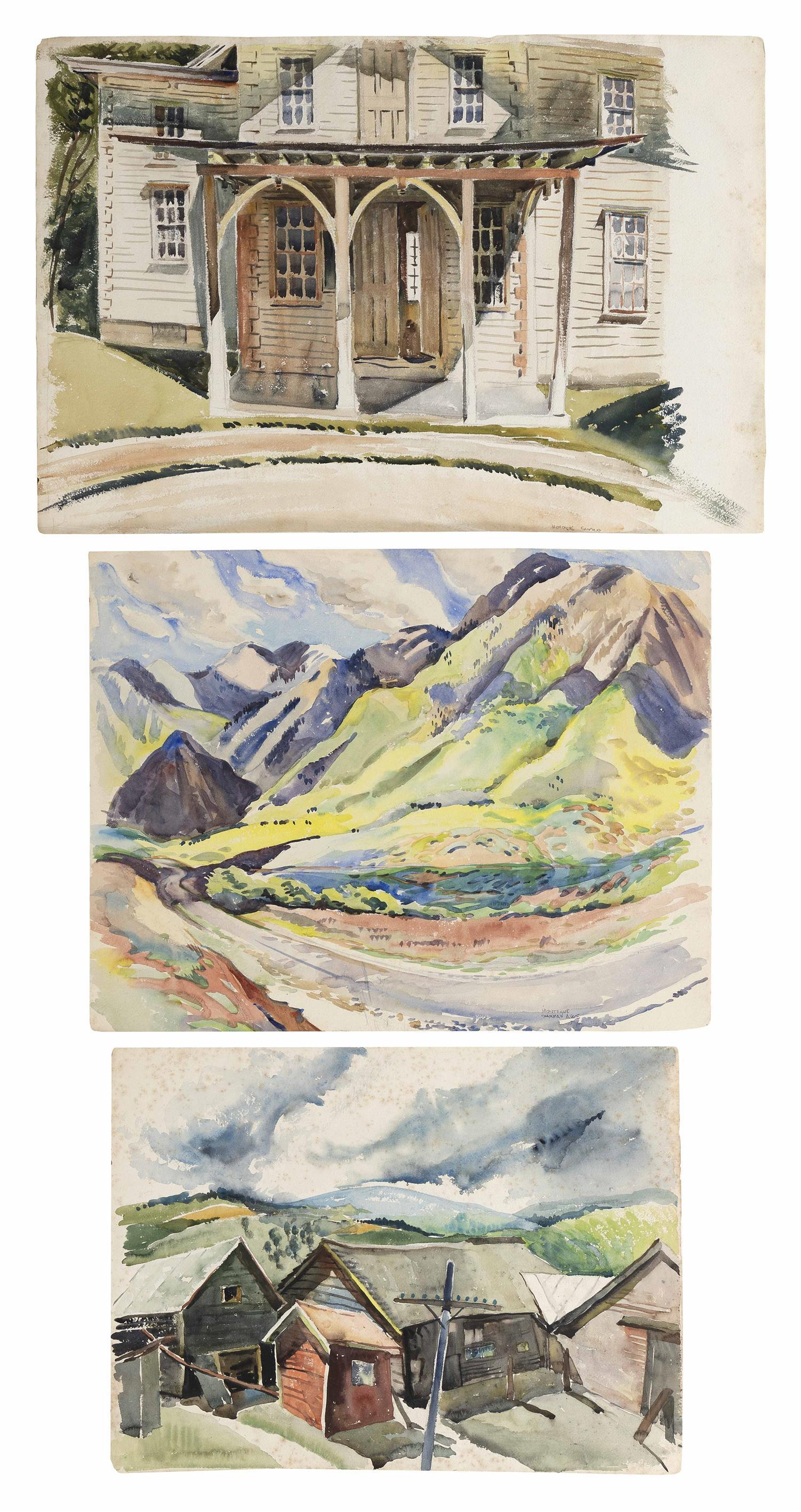 FREDERICK MONTAGUE CHARMAN, New York, 1894-1986, Three works: Two architectural and one landscape., Watercolors on paper, the larges...