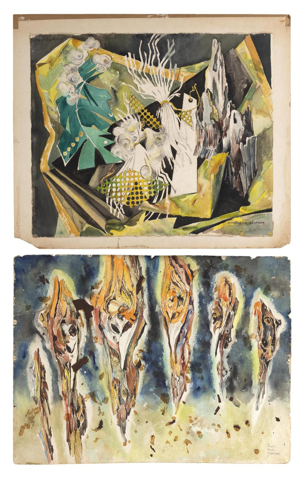 "JESSIE BONE CHARMAN, New York, 1895-1986, Two abstracts., Watercolors on paper, 22"" x 30"". Unframed."