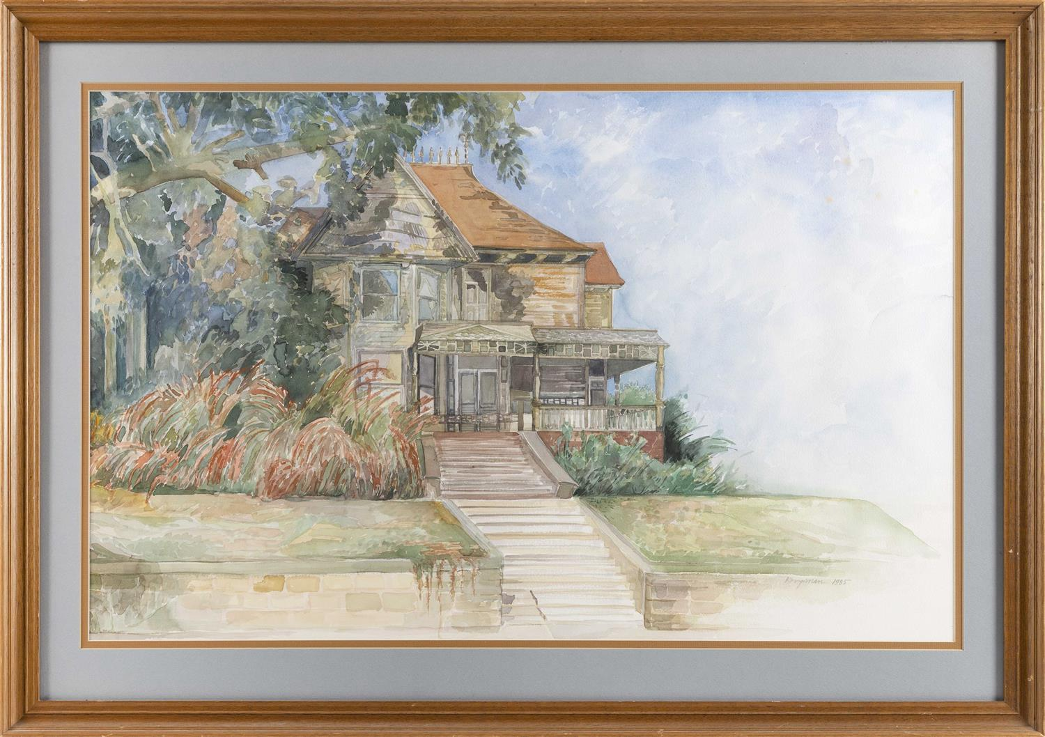"RICHARD KOOYMAN, America, Contemporary, View of a house., Watercolor on paper, 22"" x 35"" sight. Framed 30"" x 42""."