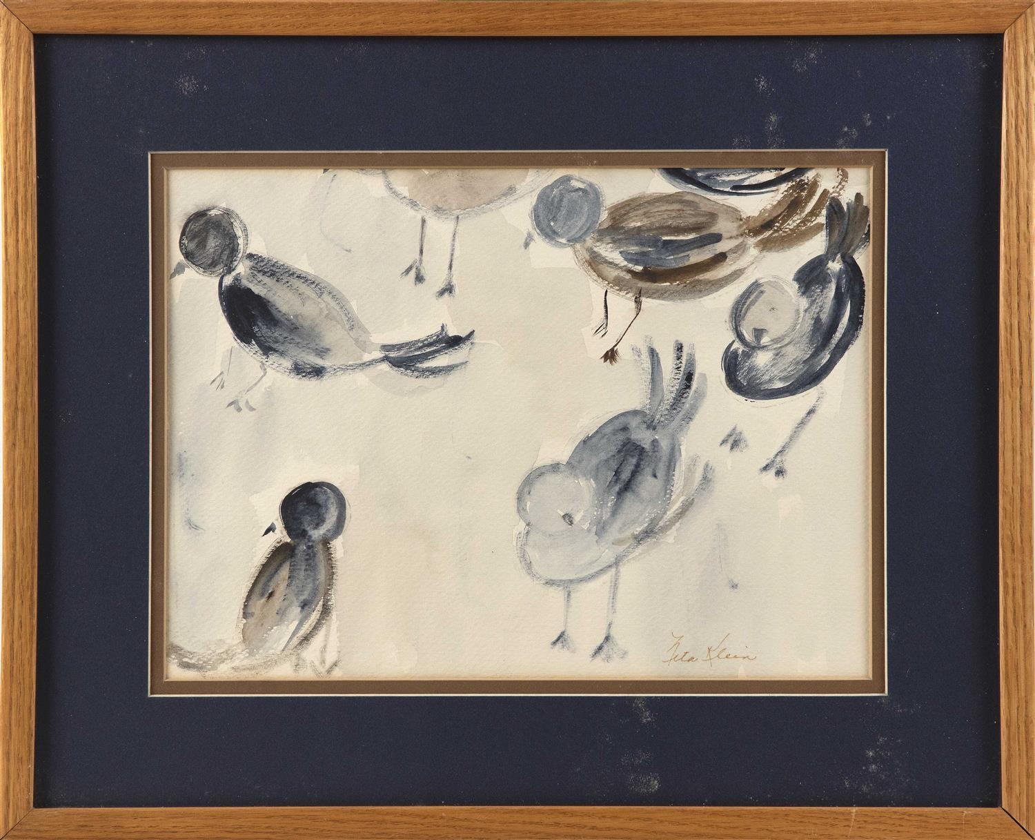 "NITA KLEIN, America, Contemporary, Shorebirds., Watercolor, 10.5"" x 14.25"" sight. Framed 17"" x 21""."