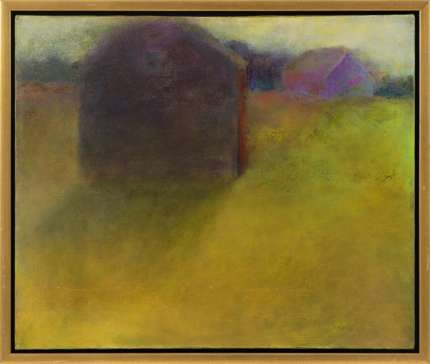 """BEV WALKER, America, Contemporary, Abstract of barns., Oil on canvas, 20"""" x 24"""". Framed 22"""" x 26""""."""