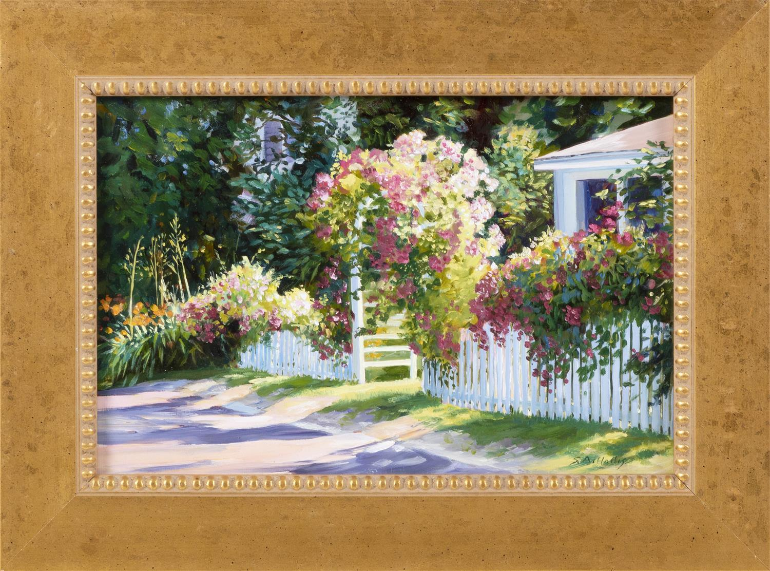 "SUSAN A. HOLLIS, America, Contemporary, ""Rose Shadow""., Oil on board, 8.25"" x 12"". Framed 12"" x 15""."