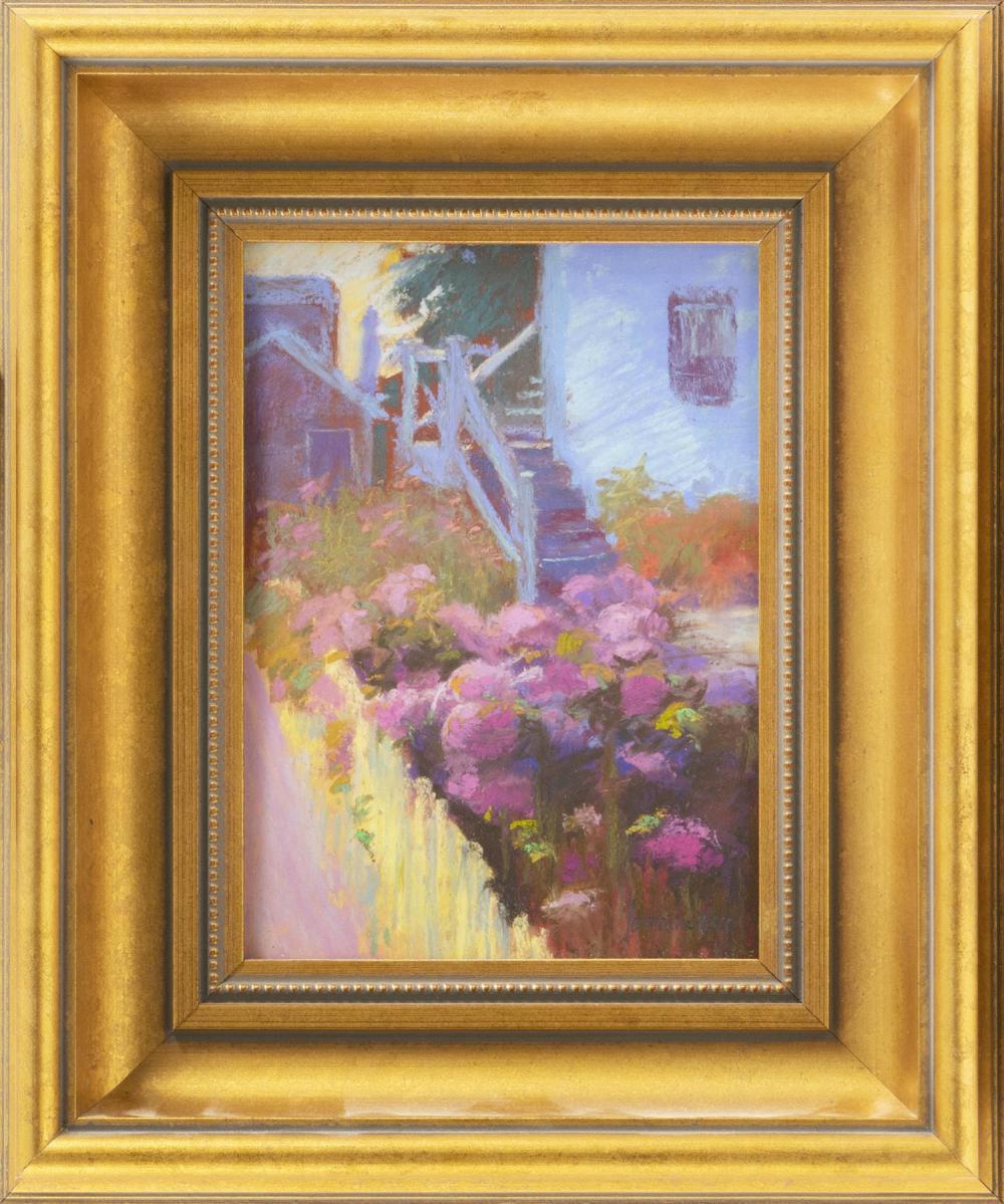 "LORRAINE TRENHOLM, America, Contemporary, ""Those Pink Hydrangeas"" ., Pastel on paper, 7"" x 5"". Framed 11"" x 10""."