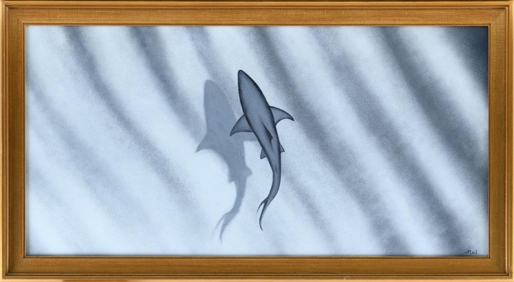 "NEIL COLLINS, America, Contemporary, Bird's-eye view of a shark., Oil on canvas, 18"" x 36"". Framed 21.5"" x 39.5""."