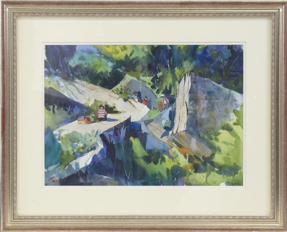 """FRANK FEDERICO, Connecticut, Contemporary, Two works: """"Bass Rocks"""" and one depicting figures in a park., Watercolors on paper, the l..."""