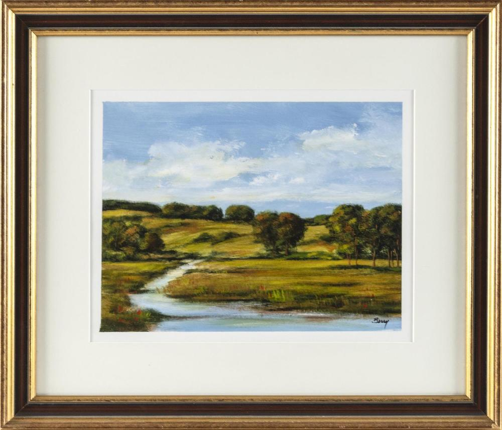 "CHARLES BERRY, America, Contemporary, ""Beside the Stream""., Oil on paper, 10"" x 13"". Framed 19"" x 22""."