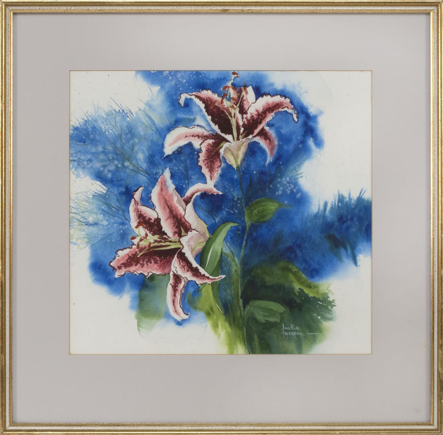 "JANE A'LEE HEYERDAHL, America, Contemporary, Two pink tiger lilies., Watercolor, 14"" x 15"". Framed 21.5"" x 22""."