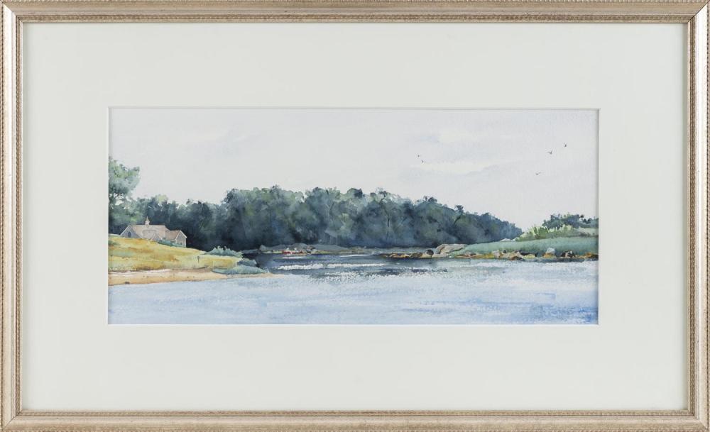"NICOLE MICHAUD-WARNER, Massachusetts, Contemporary, ""Red Canoe at Naushon""., Watercolor on paper, 17"" x 29"". Framed 19"" x 31""."
