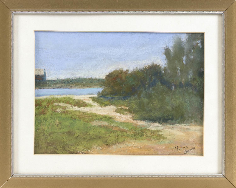 "GLORIA WARREN, Cape Cod, Contemporary, ""Beach Path""., Pastel on paper, 8"" x 11"" sight. Framed 12"" x 15.5""."