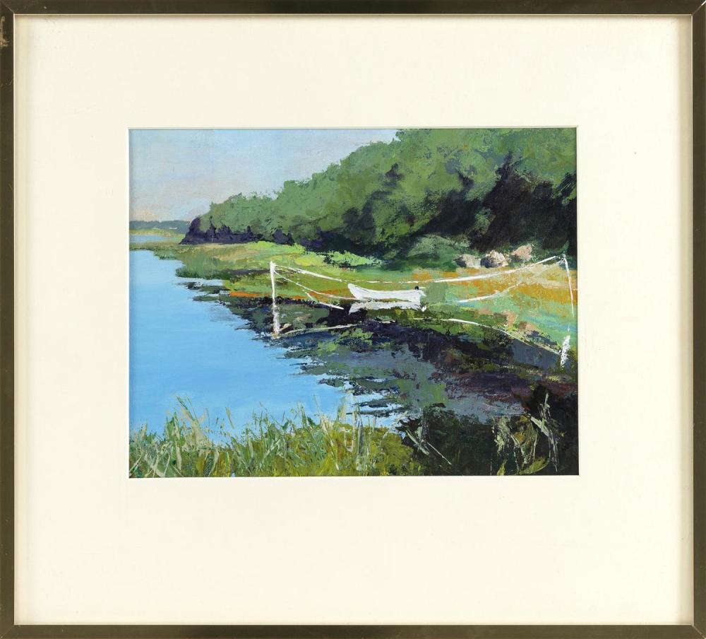 "DORIS EPSTEIN, Cape Cod, Contemporary, ""Monk's Cove""., Acrylic on canvas board, 10"" x 13"" sight. Framed."