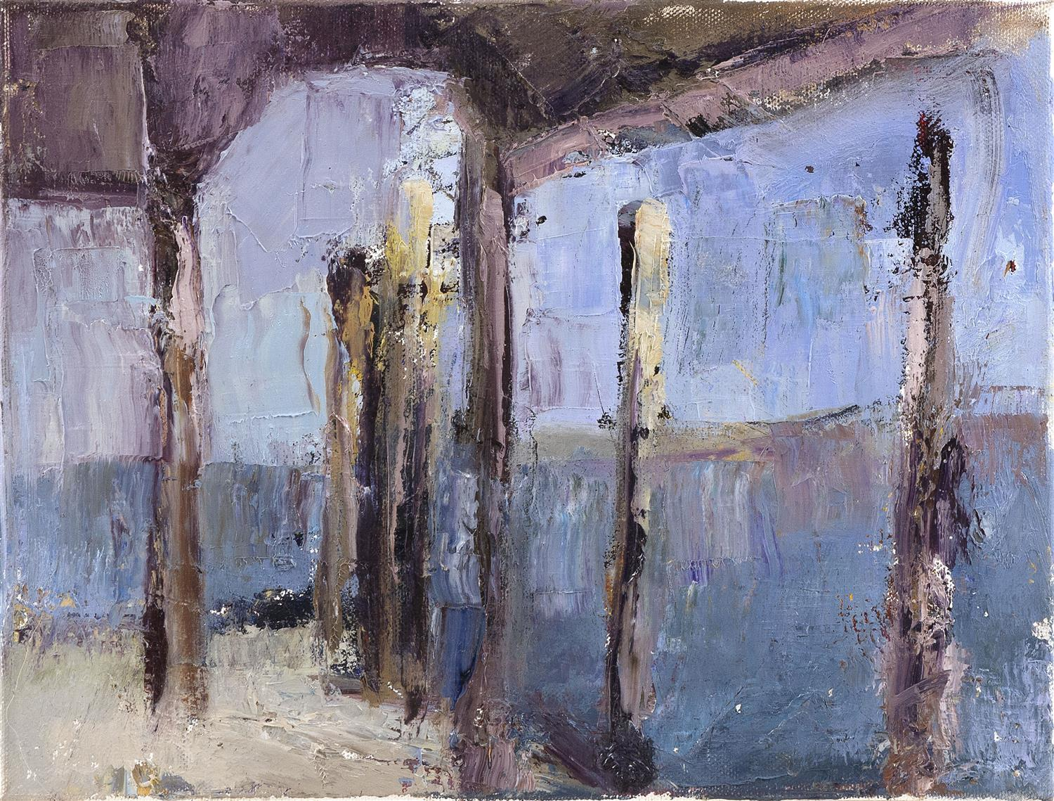 """PAINTING OF A PROVINCETOWN PIER Signed and dated indistinctly verso """"Sh...e[?], 2013"""". Oil on canvas, 9"""" x 12"""". Unframed."""