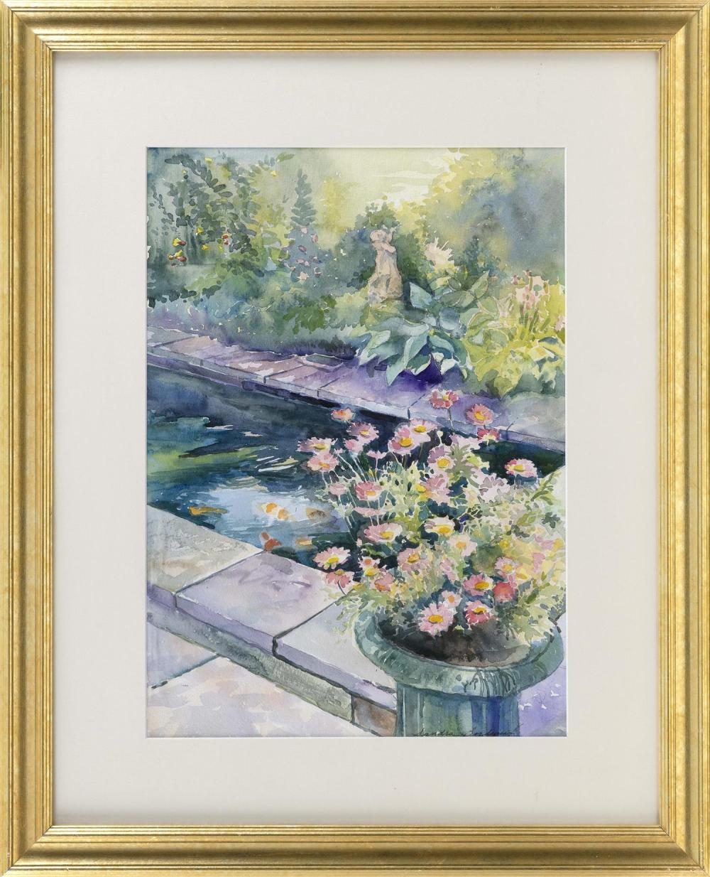 "SANDRA BOURDEAUX, Cape Cod, Contemporary, Koi pond., Watercolor on paper, 21"" x 15"" sight. Framed 32"" x 25.5""."