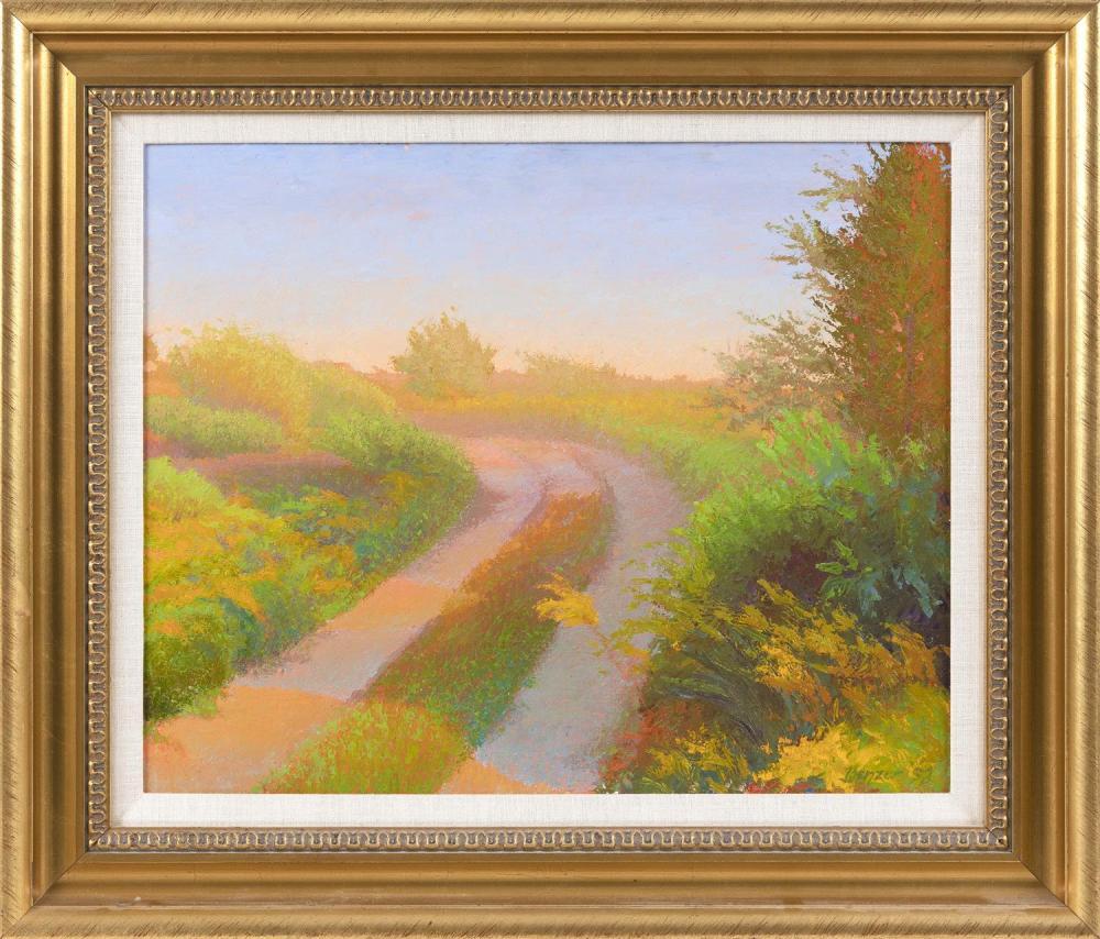 "SHEILA BENZER, Massachusetts, 20th Century, ""Early Evening Walk"", at High Head, North Truro, Massachusetts., Oil on panel, 16"" x 20""..."