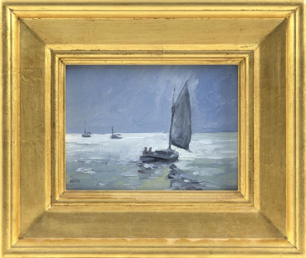 "PETER KALILL, Cape Cod, Contemporary, ""Moonlight Cruise""., Oil on board, 6"" x 8"". Framed 11"" x 13""."