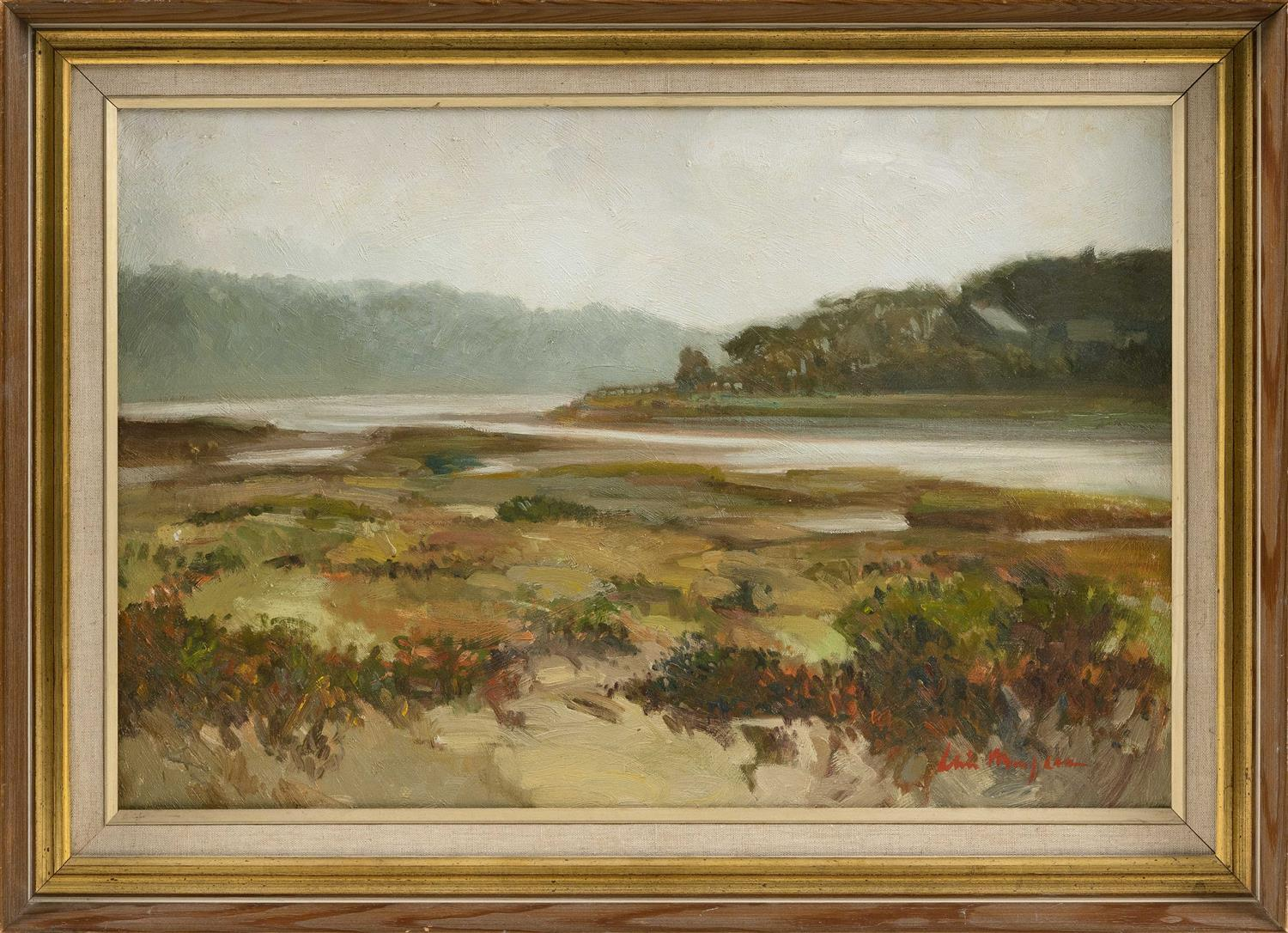 "ALICE MONGEAU, Cape Cod, Contemporary, ""Bass River""., Oil on canvas, 16"" x 24"". Framed 22"" x 28""."
