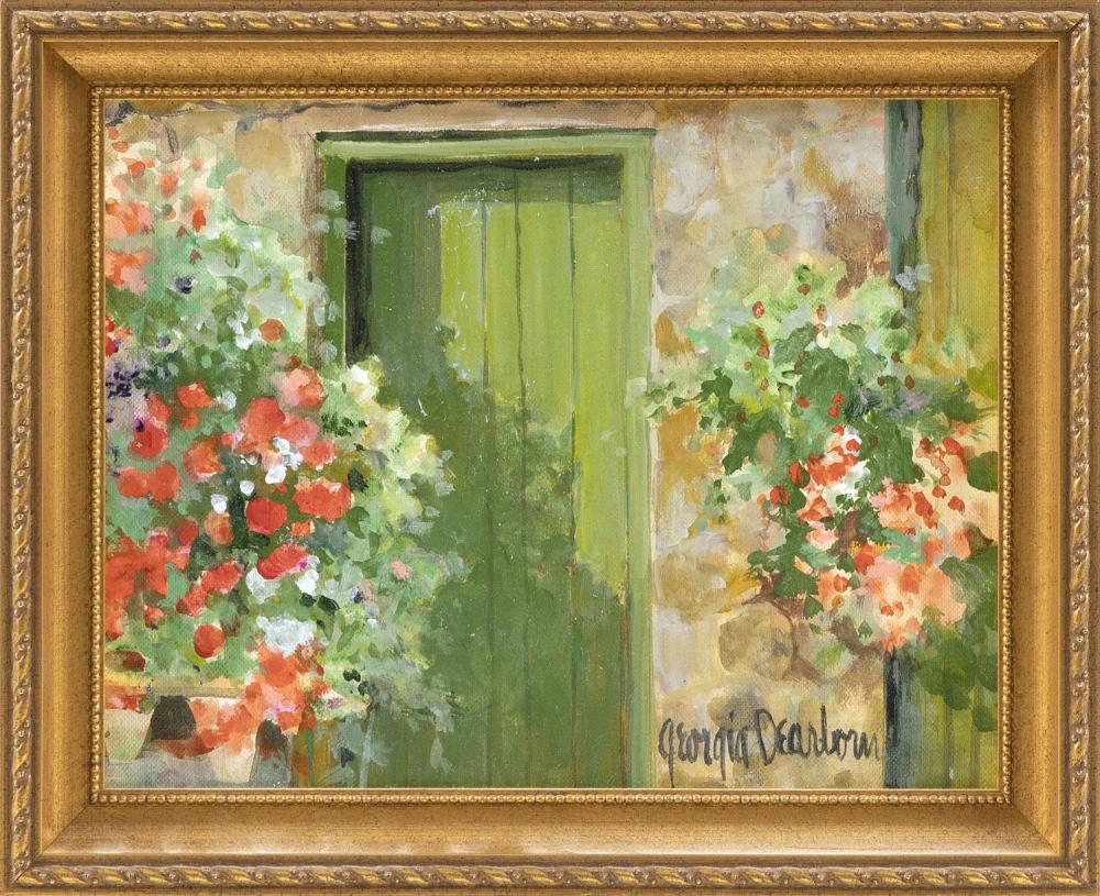 """GEORGIA DEARBORN, Cape Cod, b. 1952, Flower boxes and a green door., Oil on canvas board, 8"""" x 10"""". Framed 9.5"""" x 11.5""""."""