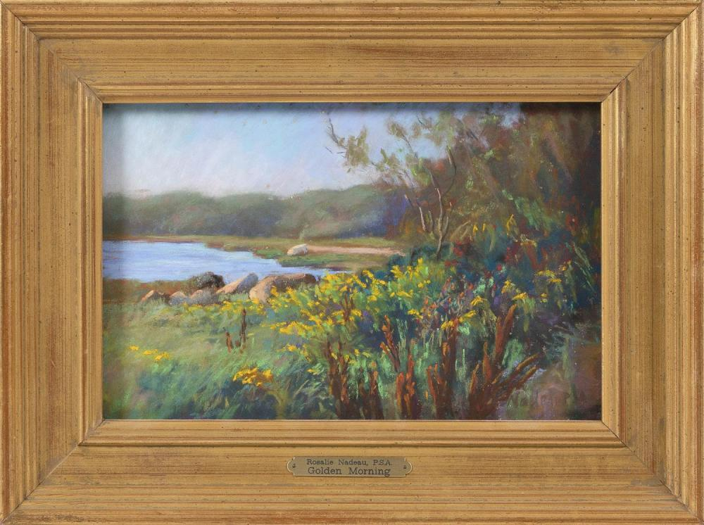 "ROSALIE NADEAU, Cape Cod, Contemporary, ""Golden Morning"", Weeset Point, Orleans., Pastel on paper, 6.5"" x 10"". Framed 10.5"" x 14""."
