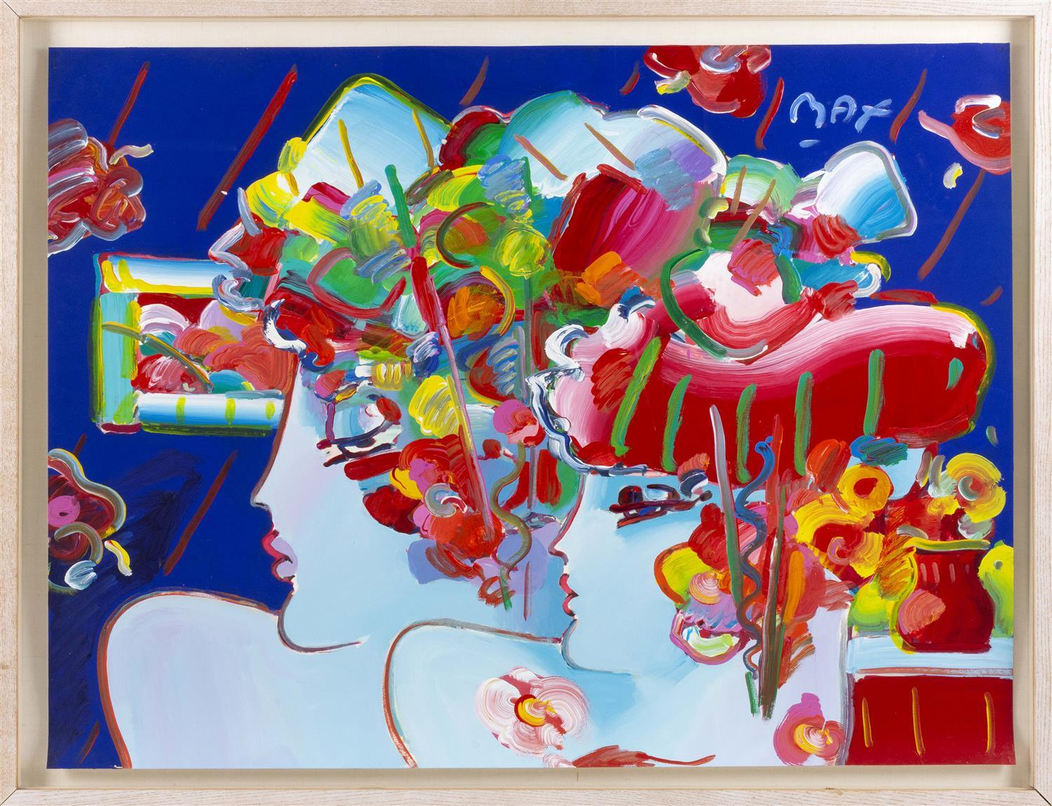 """PETER (FINKELSTEIN) MAX, New York, b. 1937, Two women., Acrylic over serigraph, 29.5"""" x 39"""". Framed 33.25"""" x 43.25""""."""