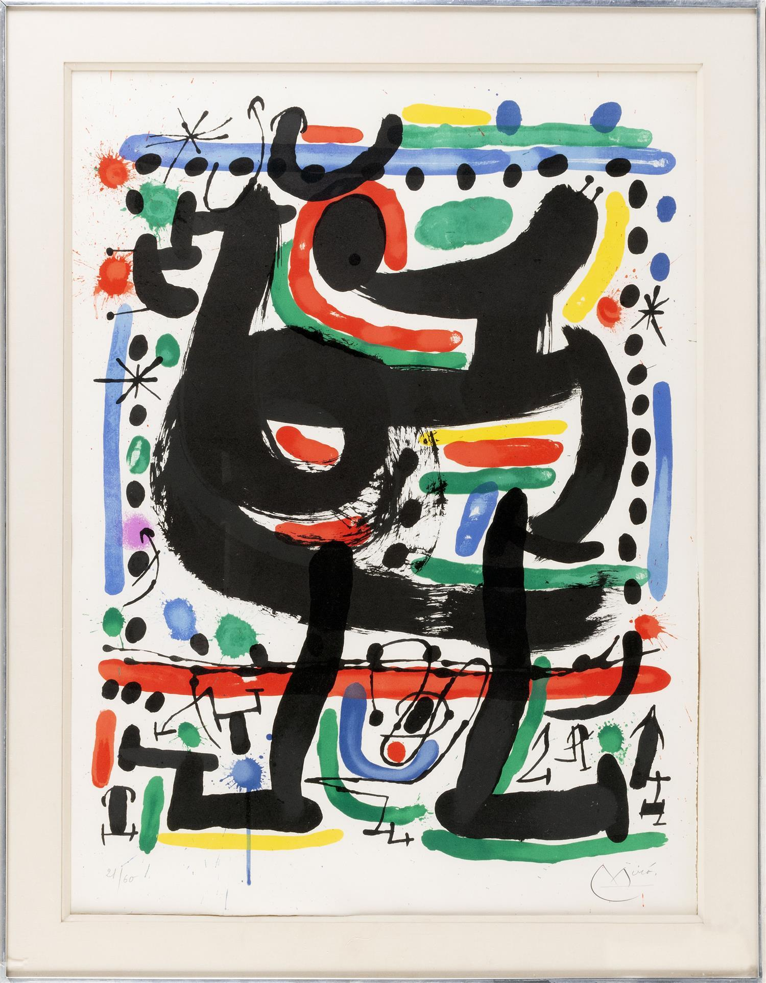 "JOAN MIRÓ, Spain, 1893-1983, Poster for the opening of the Mourlot Atelier in New York,, Color lithograph on Rives paper, 28.25"" x 2..."