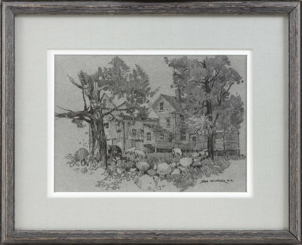 """TOM NICHOLAS, Massachusetts/Connecticut, Contemporary, Study of a home., Charcoal on paper, 8.5"""" x 12"""" sight. Framed 16"""" x 20""""."""