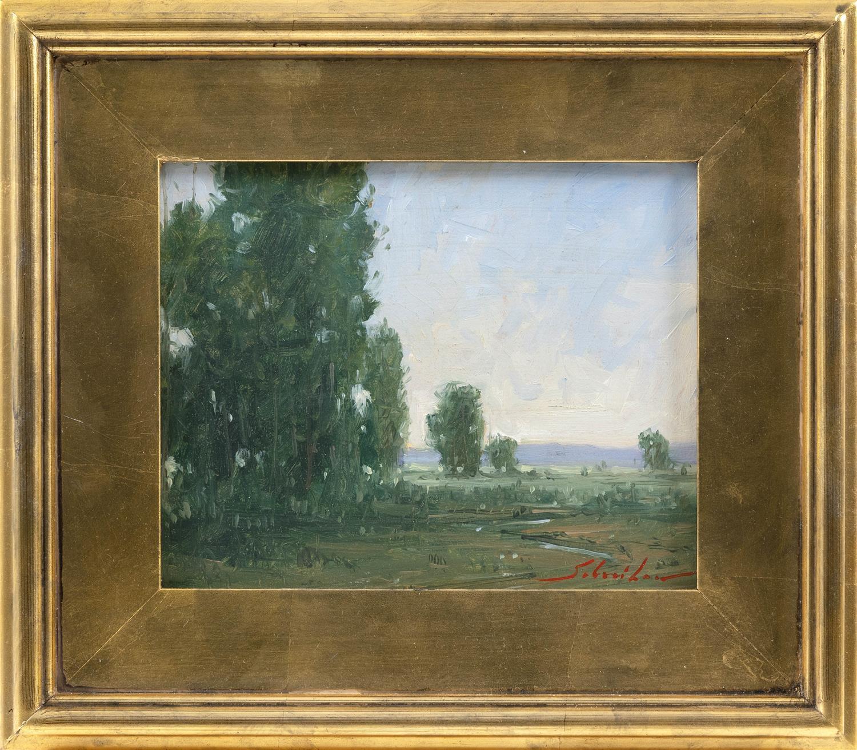 "ROBERT SCHNEIDER, New York, Contemporary, ""Otesgo Meadows""., Oil on board, 8"" x 10"". Framed 13"" x 15""."