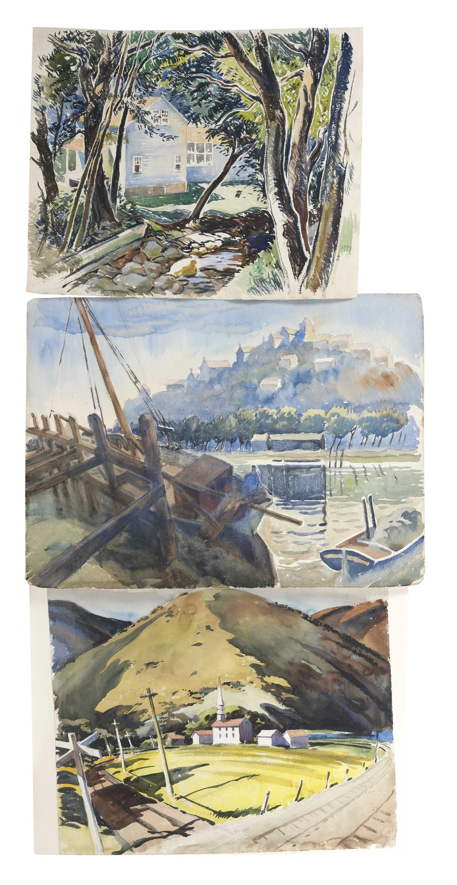 """FREDERICK MONTAGUE CHARMAN, New York, 1894-1986, Three landscapes., Watercolors on paper, the largest 23"""" x 31"""". Unframed."""
