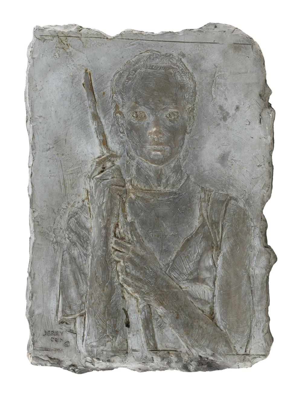 """JERRY COX, Arizona, b. 1943, Bas relief of a boy holding a staff., Plaster plaque, 13"""" x 9""""."""