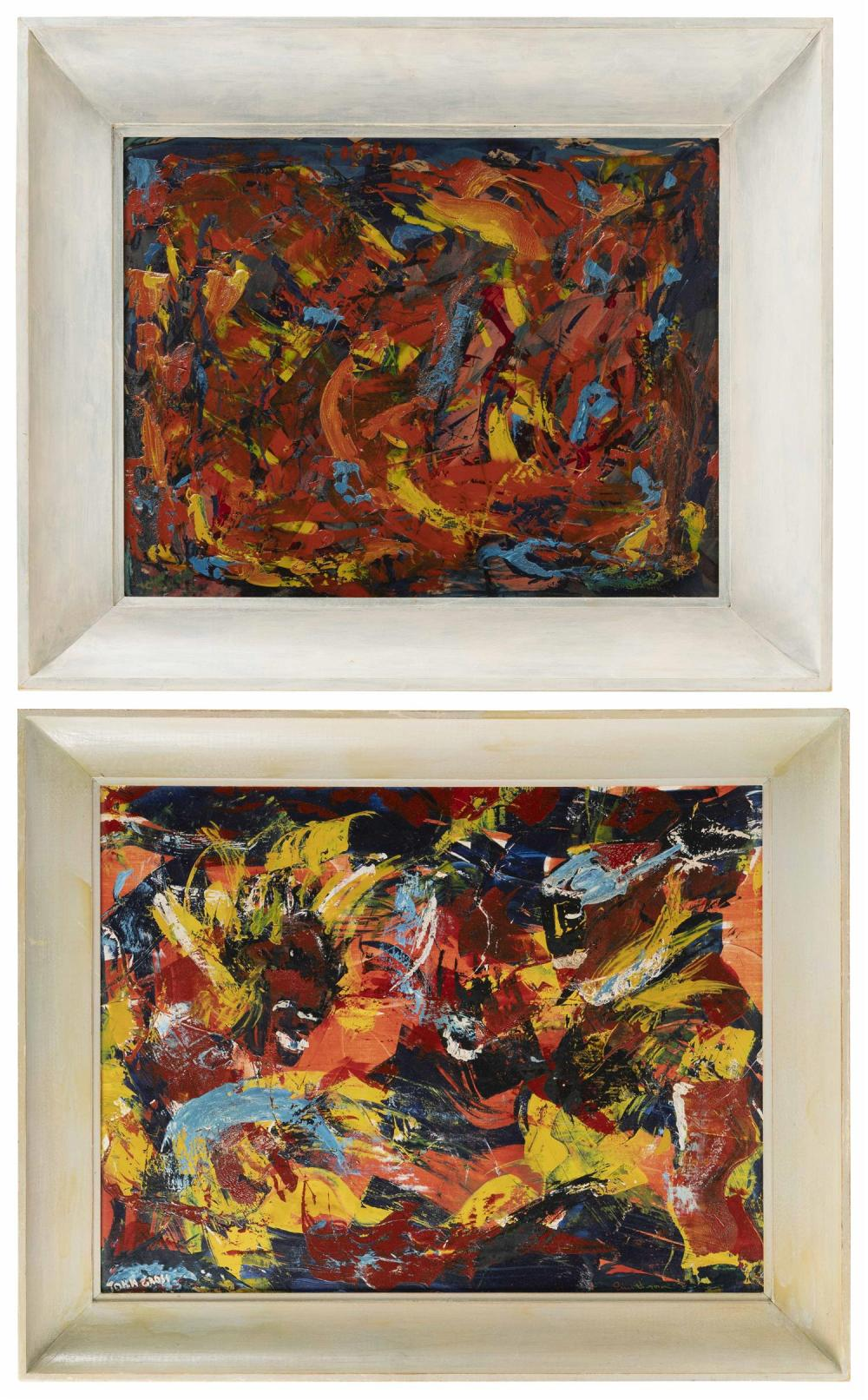"JOHN GROSS, America, 20th Century, Pair of abstract paintings., Oils on board, 16"" x 20"". Framed 21"" x 25""."