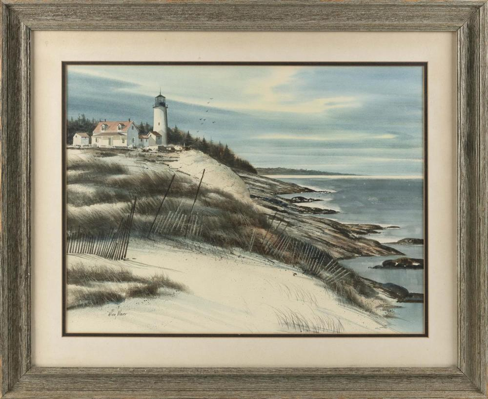 """ALLEN ULMER, America, 1922-1990, Lighthouse on the coast., Watercolor on paper, 17"""" x 24"""" sight. Framed 26"""" x 32""""."""