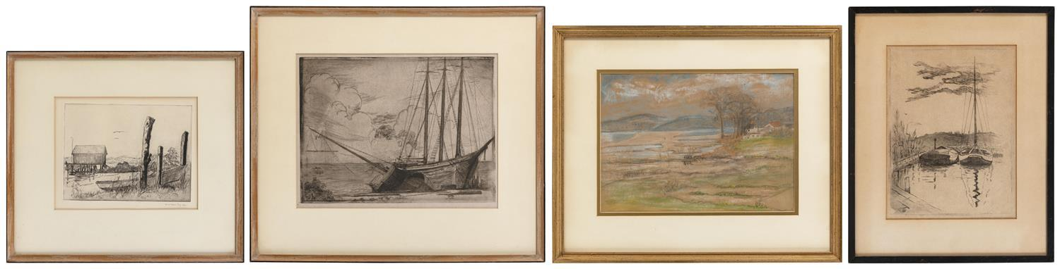 """CAROLINE (CARO) WEIR ELY, New York/Connecticut, 1884-1974, Four works:, From 7"""" x 9"""" to 9.5"""" x 12"""". Largest framed 17"""" x 21""""."""