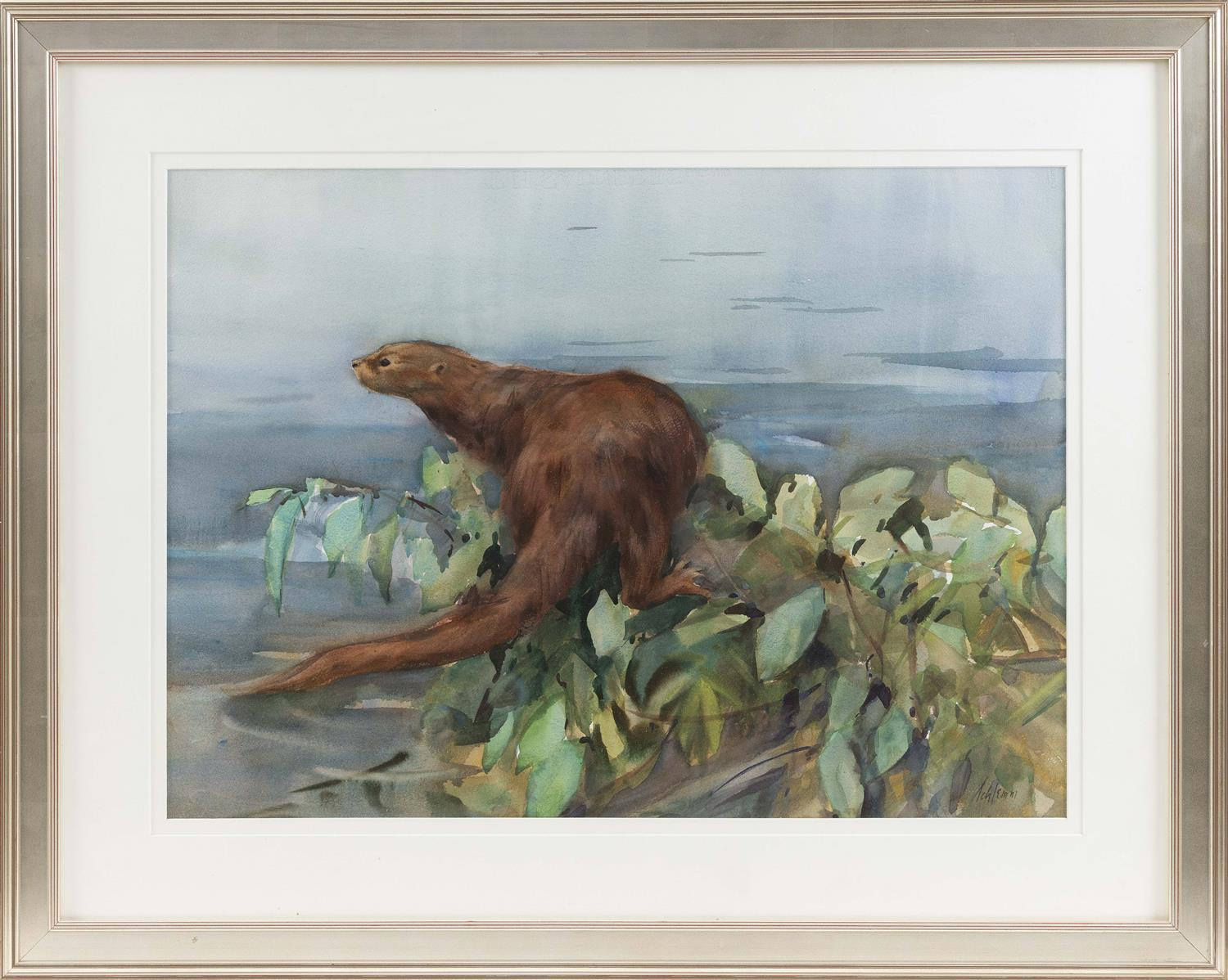 "BETTY SCHLEMM, Massachusetts/New Jersey, b. 1934, Otter., Watercolor on paper, 21"" x 29"" sight. Framed 31.5"" x 40""."