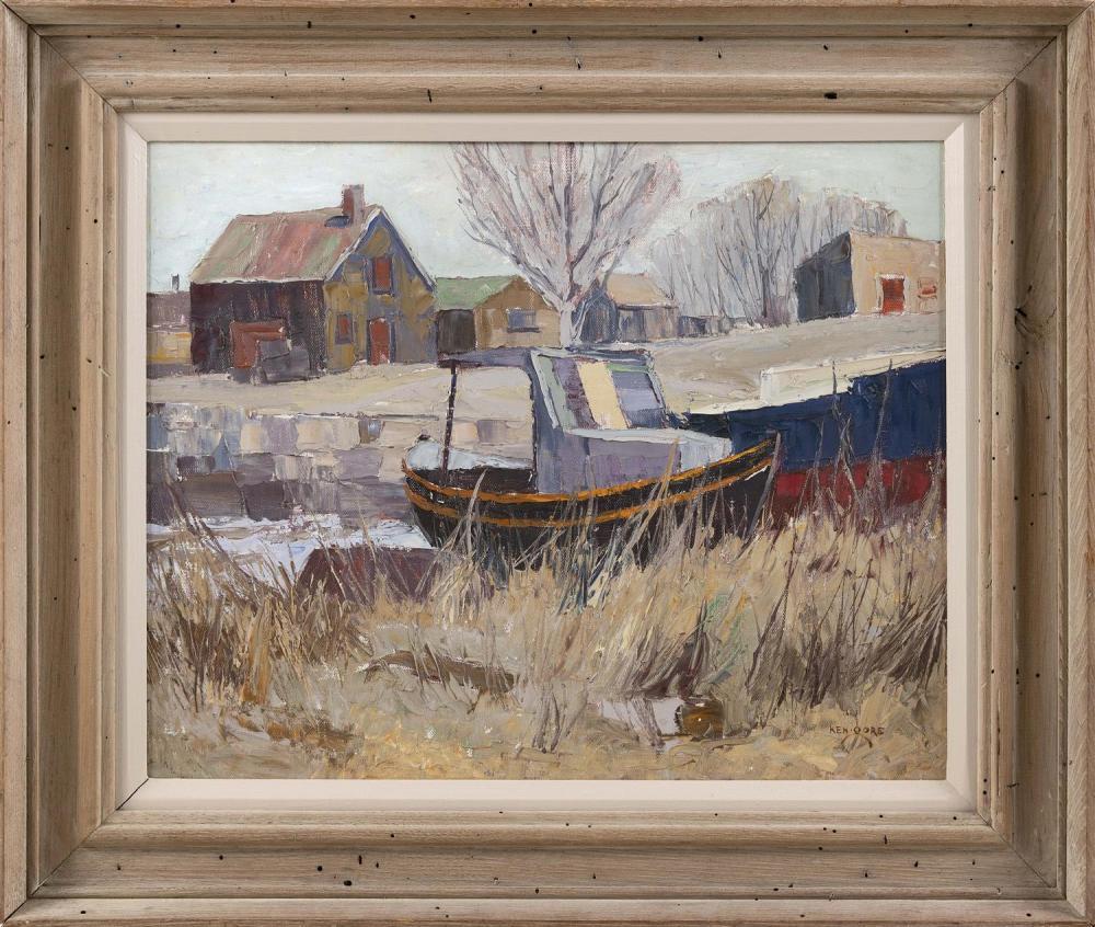 """KEN GORE, Massachusetts, 1911-1990, """"Winter Berth""""., Oil on masonite, 16"""" x 20"""". Framed 22.5"""" x 26""""."""