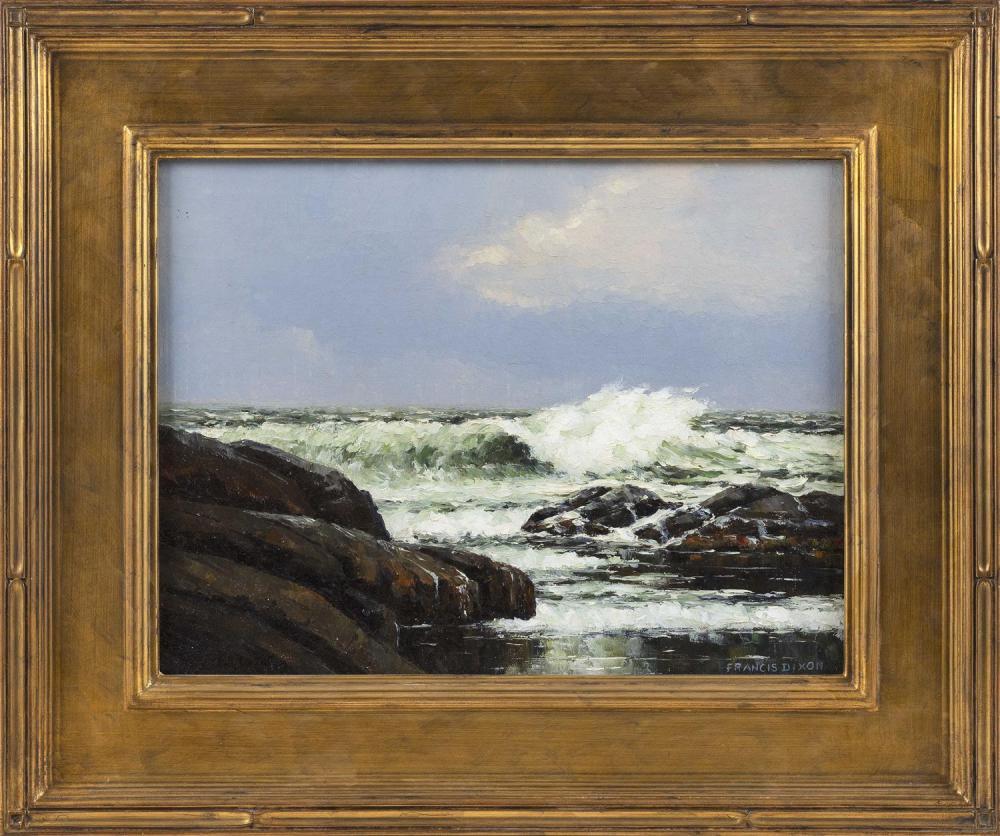 """FRANCIS STILLWELL DIXON, New York/California, 1879-1967, Waves crashing on a rocky coast., Oil on board, 16"""" x 20"""". Framed 18.5"""" x 2..."""